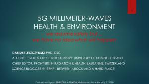 Leszczynski presentations in Australia, May 2018, Smombie Gate   5G   EMF