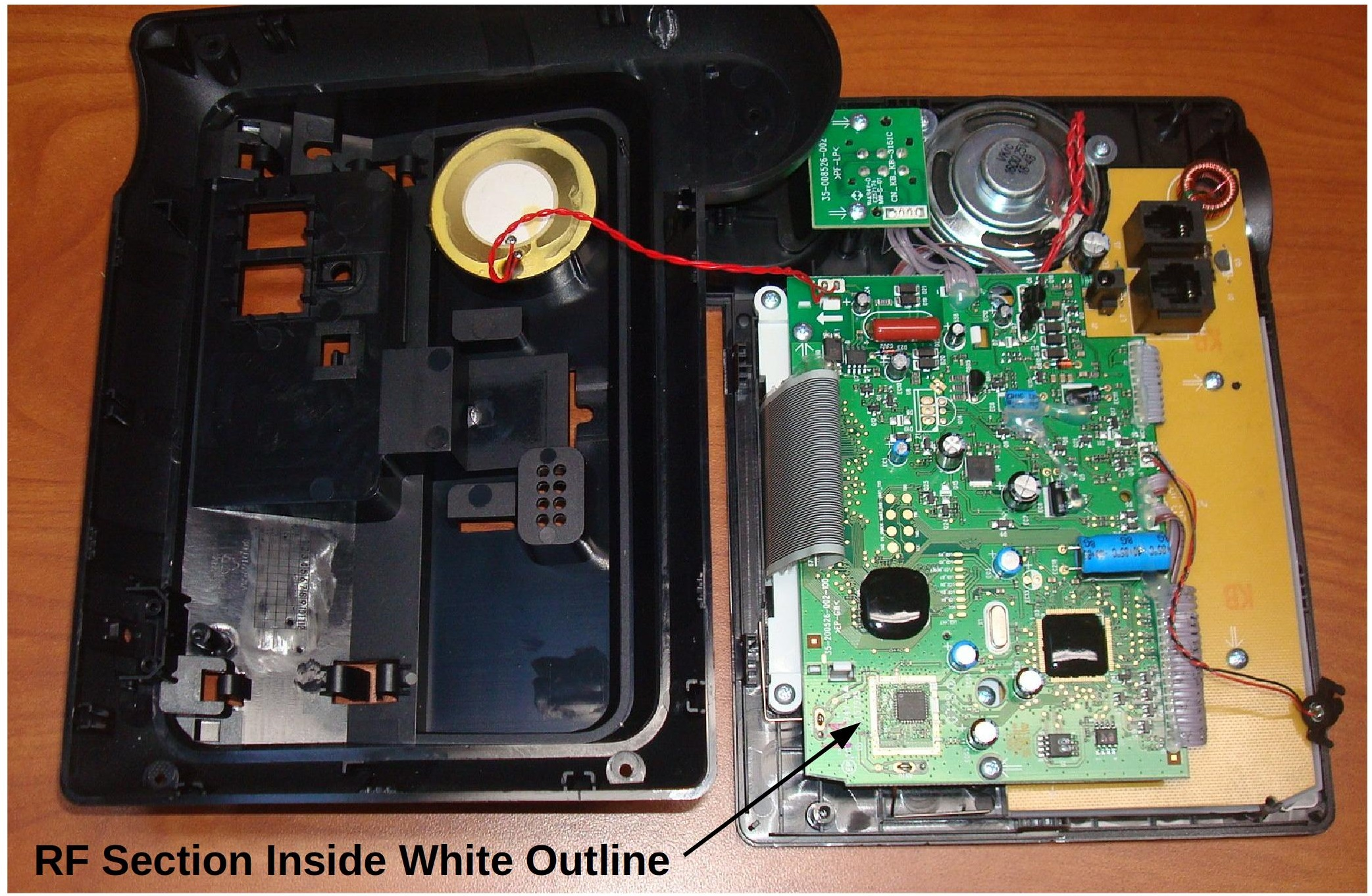 Figure 2: Base station disassembled with printed circuit board exposed