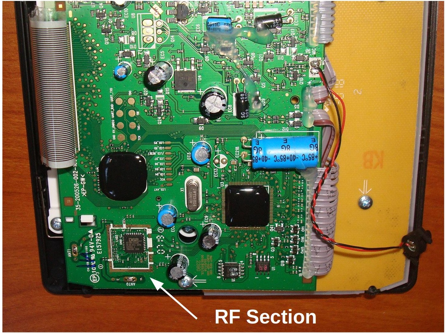 Figure 3: Base station printed circuit board showing the location of the RF section.